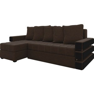 Диван угловой АртМебель Венеция микровельвет Коричневый левый диван угловой артмебель гранд микровельвет коричневый левый
