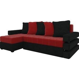 Диван угловой Мебелико Венеция микровельвет красно-черный левый диван угловой мебелико венеция микровельвет красно черный правый