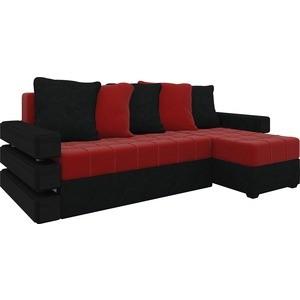 Диван угловой Мебелико Венеция микровельвет красно-черный правый диван угловой мебелико венеция микровельвет красно черный правый