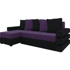 Диван угловой АртМебель Венеция микровельвет фиолетово-черн левый