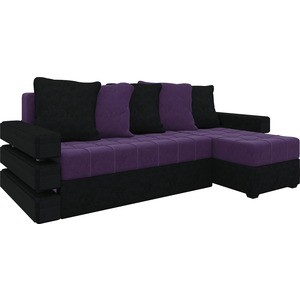Диван угловой АртМебель Венеция микровельвет фиолетово-черн правый