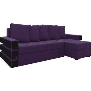 Диван угловой АртМебель Венеция микровельвет фиолетовый правый