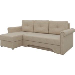 Диван угловой АртМебель Гранд микровельвет бежевый левый диван угловой артмебель гранд микровельвет коричневый левый