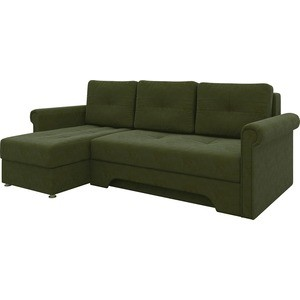 Диван угловой Мебелико Гранд микровельвет зеленый левый