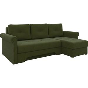 Диван угловой Мебелико Гранд микровельвет зеленый правый