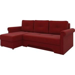 Диван угловой Мебелико Гранд микровельвет красный левый