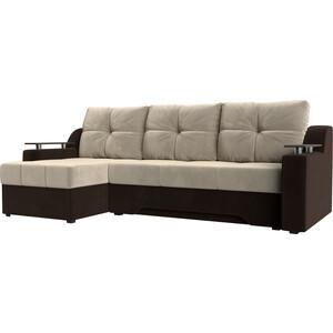 Диван угловой Мебелико Сенатор НПБ микровельвет бежево-коричн левый диван угловой мебелико атлант ут микровельвет бежево коричн левый