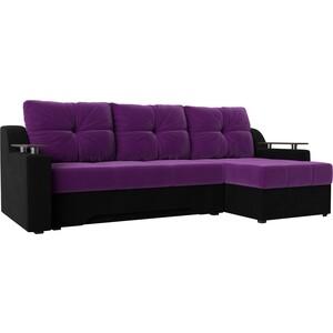 Диван угловой Мебелико Сенатор микровельвет фиолетово-черн правый