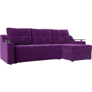 Диван угловой Мебелико Сенатор НПБ микровельвет фиолетовый правый