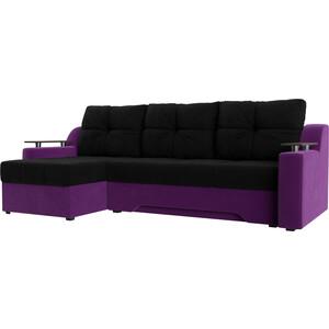 Диван угловой Мебелико Сенатор НПБ микровельвет черно-фиолетов левый
