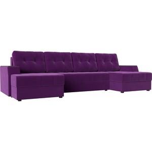 Диван угловой Мебелико Эмир-П микровельвет фиолетовый
