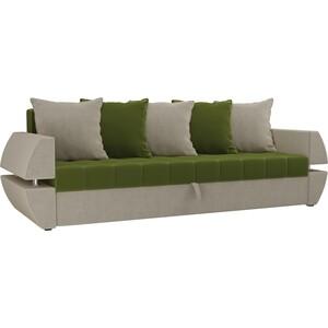 Диван-еврокнижка Мебелико Атлант Т микровельвет зелено-бежевый