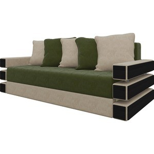Диван-еврокнижка Мебелико Венеция микровельвет зелено-бежевый диван еврокнижка мебелико атлант т микровельвет зелено бежевый