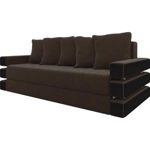 Диван-еврокнижка Мебелико Венеция микровельвет Коричневый диван еврокнижка мебелико венеция микровельвет зелено бежевый