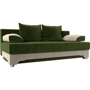 Диван-еврокнижка Мебелико Ник-2 микровельвет зелено-бежевый диван еврокнижка мебелико венеция микровельвет зелено бежевый