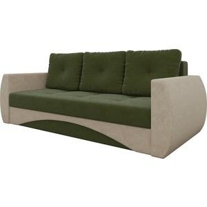 Диван-еврокнижка Мебелико Сатурн микровельвет зелено-бежевый диван еврокнижка мебелико венеция микровельвет зелено бежевый
