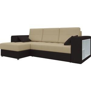 Диван угловой Мебелико Атлантис эко-кожа бежево-коричн левый диван угловой мебелико атлантис эко кожа белый правый