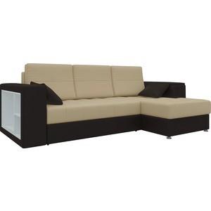 Диван угловой Мебелико Атлантис эко-кожа бежево-коричн правый диван угловой мебелико атлантис эко кожа белый правый