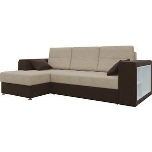Диван угловой Мебелико Атлантис микровельвет бежево-коричн левый диван угловой мебелико атлант ут микровельвет бежево коричн левый