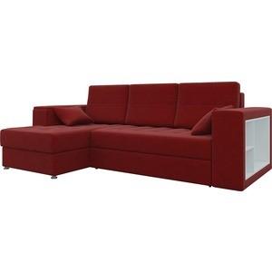 Диван угловой Мебелико Атлантис микровельвет красный левый цена