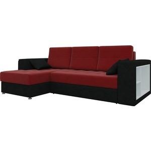 Диван угловой Мебелико Атлантис микровельвет красно-черный левый цена