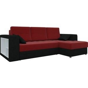 Диван угловой Мебелико Атлантис микровельвет красно-черный правый диван угловой мебелико венеция микровельвет красно черный правый