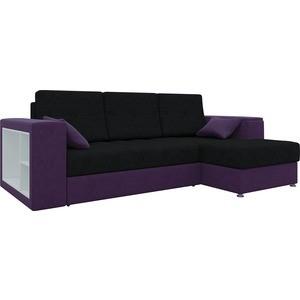 Диван угловой Мебелико Атлантис микровельвет черно-фиолетов правый