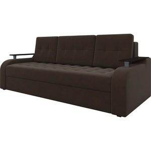 Диван-еврокнижка Мебелико Ричард микровельвет коричневый диван еврокнижка мебелико европа микровельвет зелено бежевый