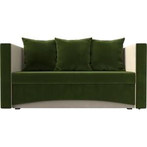Кушетка АртМебель Принц микровельвет зелено-бежевый левый