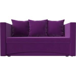 Кушетка АртМебель Принц микровельвет фиолетовый левый