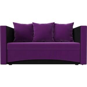 Кушетка АртМебель Принц микровельвет фиолетово-черн левый