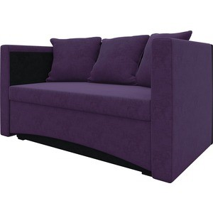 Кушетка АртМебель Принц микровельвет фиолетово-черн правый