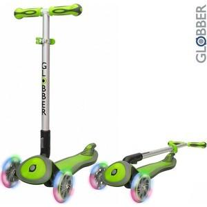 Купить со скидкой Самокат 3-х колесный Globber 445-106 ELITE SL My Free Fold up со светящимися колесами GREEN