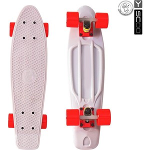 Скейтборд RT 401-G Fishskateboard 22 винил 56,6х15 с сумкой GREY/red скейтборд rt 408 ch longboard shark tir 31 пластик 79х22 с сумкой chaos red black