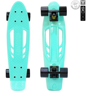 Скейтборд RT 405-A Skateboard Fishbone с ручкой 22 винил 56,6х15 с сумкой AQUA/black скейтборд y scoo skateboard fishbone с ручкой 22 rt винил 56 6х15 с сумкой blue black 405 b