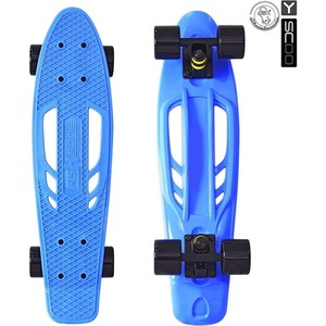 Скейтборд RT 405-B Skateboard Fishbone с ручкой 22 винил 56,6х15 с сумкой BLUE/black скейтборд y scoo skateboard fishbone с ручкой 22 rt винил 56 6х15 с сумкой blue black 405 b
