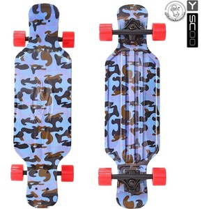 Скейтборд RT 408-Ba Longboard Shark TIR 31 пластик 79х22 с сумкой Blue Army BLUE/red скейтборд rt 408 ch longboard shark tir 31 пластик 79х22 с сумкой chaos red black