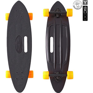 Скейтборд RT 409-B Longboard Shark с ручкой 31 пластик 79х22 с сумкой BLACK/orange скейтборд rt 408 ch longboard shark tir 31 пластик 79х22 с сумкой chaos red black