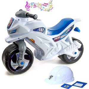 RT ОР501в4 Каталка-мотоцикл беговел Racer RZ 1 Полиция со шлемом с музыкой 5 мелодий бело-синий