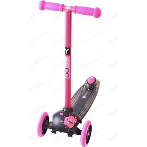 Самокат 3-х колесный Y-Scoo RT TRIO DIAMOND 120 Monsters 1 высота с блокировкой колес pink Zoi y scoo самокат трехколесный trio diamond 120 pink