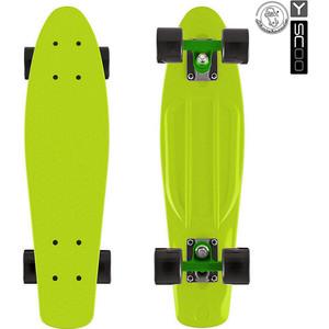 Скейтборд Y-Scoo 401-L Fishskateboard 22 винил 56,6х15 с сумкой LIME/black скейтборд y scoo big fishskateboard 27 rt винил 68 6х19 с сумкой purple green 402 pr