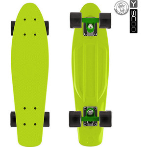 Скейтборд Y-Scoo 401-L Fishskateboard 22 винил 56,6х15 с сумкой LIME/black