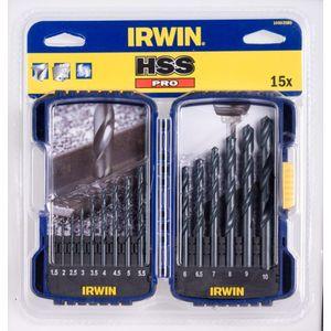 Набор сверл по металлу Irwin 1.0-10.0мм 15шт HSS PRO (10503989) недорого