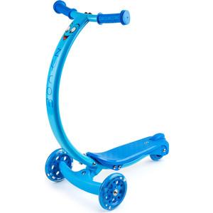Самокат 3-х колесный Zycom с изогнутой ручкой и светящимися колесами Zipster синий (1149140/цв 1149153) цена и фото