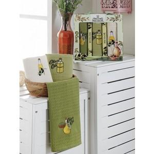 Набор кухонных полотенец Meteor Bionce Olive вафельное 40x60 3 штуки (9219)
