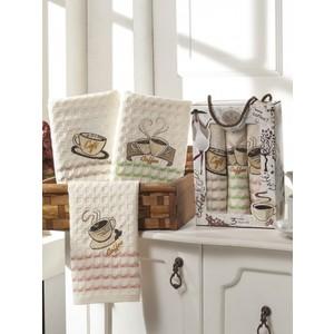 Набор кухонных полотенец Meteor Sole Kahve вафельное 40x60 3 штуки (8280)