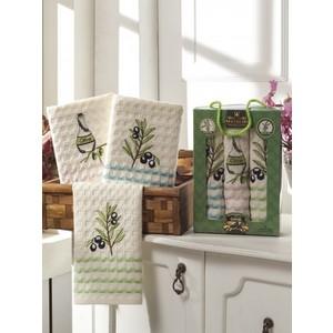 Набор кухонных полотенец Meteor Sole Olive вафельное 40x60 3 штуки (8291)