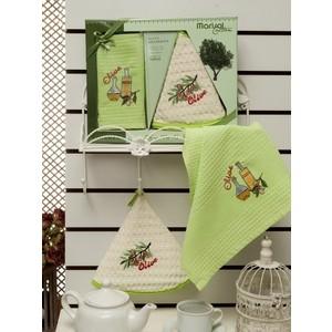 Набор кухонных полотенец Meteor Marisol Olive вафельное с вышивкой 50x70 2 штуки (8417)