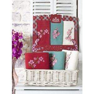 Набор кухонных полотенец Meteor Sakura вафельное с вышивкой 40x60 3 штуки (8394)