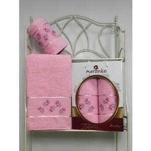 Набор из 2 полотенец Merzuka Prestij махра (50х90/70х140) (8981 светло-розовый)